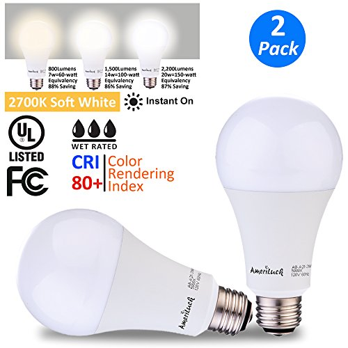 AmeriLuck 3-Way LED Light Bulb 50/100/150W Equivalent Soft White|2700K 800/1500/2200lumens CRI 80+ Low-Medium-High 7/14/20W Omni-Directional A21 (2700K | 2 Pack)