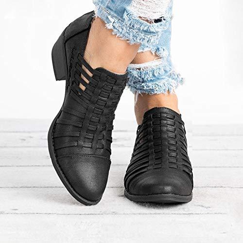 Toamen Cuadrado Punta con Puro Mujer CuñA De para Zapatos Color De Cremallera TacóN De Botines Negro Estrecha BUgnBrqf