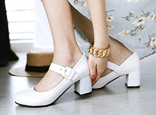 Aisun Womens Round Toe Dressy Low Cut Buckled Fashion Chunky Medium Heel Ankle Strap Pumps Shoes White 1dLvIR2up