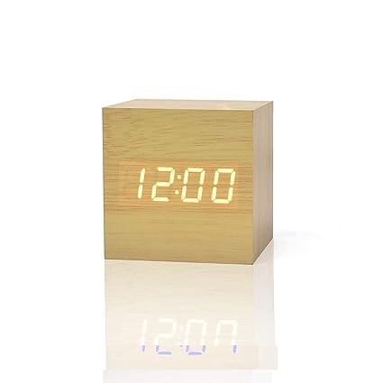 FiBiSonic LED Despertador Digital de Madera Reloj de Mesa Reloj Fecha/Pantalla de Temperatura de