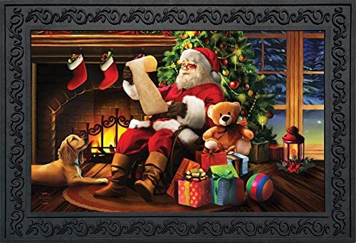 Briarwood Lane Naughty or Nice Christmas Doormat Santa Claus Indoor Outdoor 18 x 30