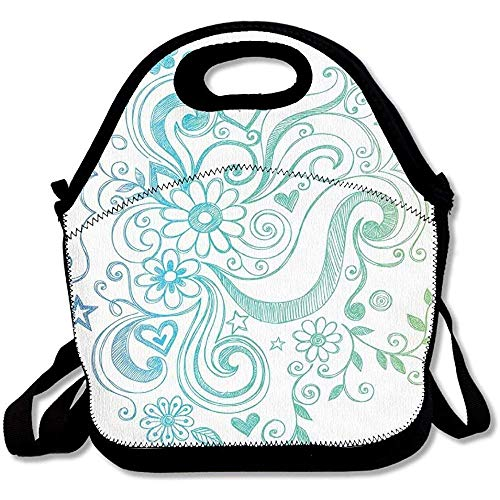 Rainbow Colored Ombre Sketch Design With Florals Blossom Ivy Leaves Lunch Bag Tote For School Work Outdoor