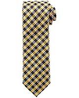 """Boss Hugo Boss Checkered Italian Silk Slim Tie, Medium Yellow 2.5"""" (6 CM) 50286905"""