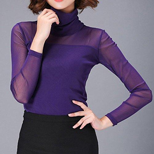 LOCOMO Tops (Luxury) - Camisas - para mujer purple turtleneck