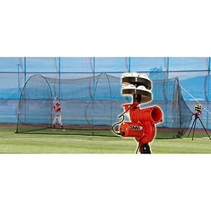 HEATER SPORTS LITE-BALL PITCHING MACHINE w/ BONUS AUTO-BALL & 22' X 12' X 8' HOME BATTING CAGE