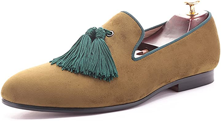 HI/&HANN Men Brown Velvet Green Tassel Slip-on Dress Loafer Smoking Slipper Males Flats