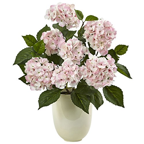 (Nearly Natural 4565 Pink Hydrangea Silk Arrangement with White Planter)