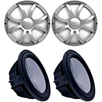 Wet Sounds Two Revo 10 Subwoofers & Grills - Black Subwoofers & Silver XS Grills - 2 Ohm