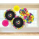 neon fans - Summer 'Neon Paradise' Paper Fan Decorations (6pc)