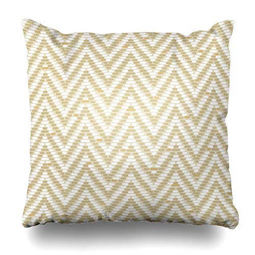 (NOWCustom Throw Pillow Cover Optical Brown Chevron Herringbone Tweed Pattern Earth Tones Dimensional Yellow Weave Woven Mod Twill Zippered Pillowcase Square Size 20 x 20 Inches Home Decor Pillow Case)