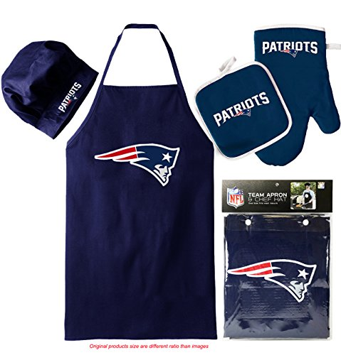 New England Patriots (Apron & Oven Mitt Pot Holder), Barbeque Apron and Chef's Hat , NFL Licensed