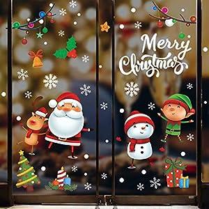 Tuopuda Natale Adesivi Porta Natale Vetrofanie Addobbi Fai da te Finestra Sticker Decorazione Babbo Natale Adesivo Vetrina Wallpaper Adesivi Rimovibile Adesivi Statico (Multicolore) 10 spesavip