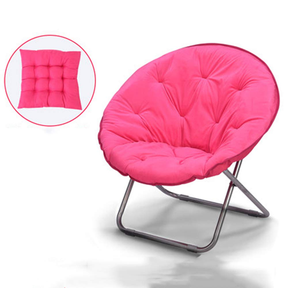 Pink + cushion - not removable Large Lazy Chair Moon Chair Folding Recliner Dormitory Chair Lunch Break Lazy Couch Chair Sun Lounger Leisure