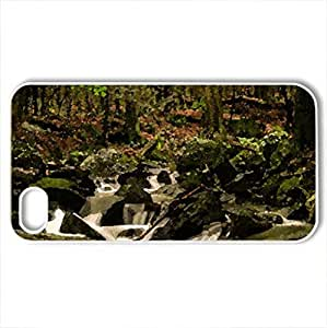 Balance of Nature - Case Cover for iPhone 4 and 4s (Waterfalls Series, Watercolor style, White)
