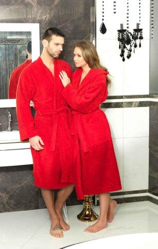 Frottee Kimono Bademantel Damen Herren Farbe Rot Größe XXL