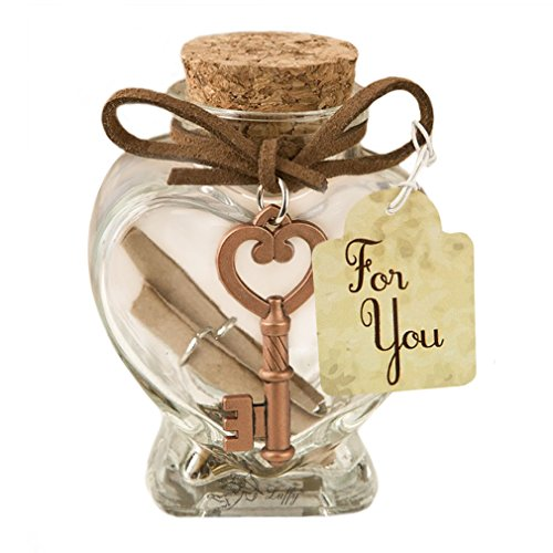 Shaped Water Heart (LUFFY Nano Marimo Jar - Clear Heart shaped Glass Bottle with Cork, Antique Key, Brown Ribbon and Parchment Scrolls inside - Perfect for Aromatherapy Oil, Party Favors, Spice, Bath Bubble & DIY Project)