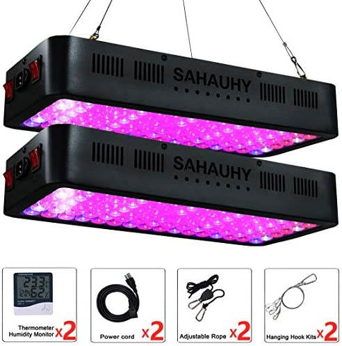 2-Packs 1000W LED Grow Light with Lens,SAHAUHY Full Spectrum Plant Lights Veg Bloom Double Switch with Thermometer Humidity Monitor and Adjustable Rope for Indoor Plants Veg Flower