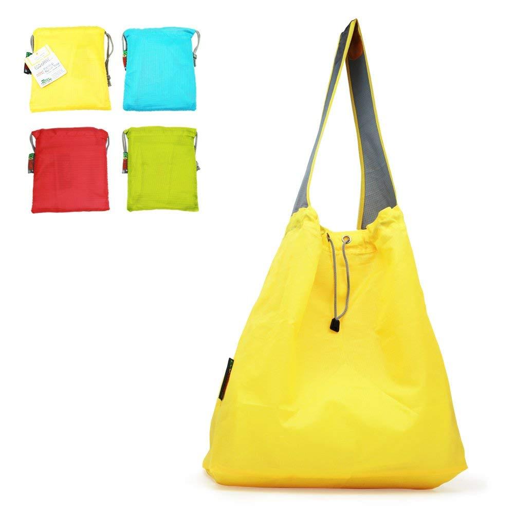 特許出願中: Ecojeannie 4パックLarge超強力なリップストップナイロン折りたたみ式再利用可能なショッピングバッグ、旅行バッグ、ビーチバッグ、Grocery Tote w /ポーチ&インナーポケット、draw-string、強化ハンドル 15.5 H X 15 W X 5 Inch D / 28 Inch Handle イエロー B06XGBP4QN Yellow-Blue-Red-Green, タラギマチ 376250e6