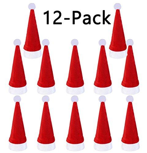 LimBridge 12pcs Christmas Silverware Holders Pockets, Cute Santa (Silver Santa Hat)