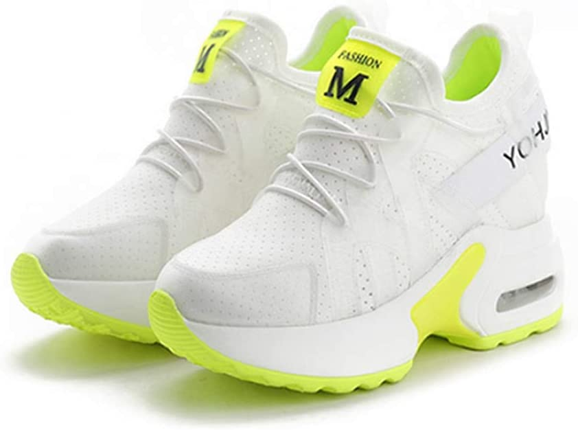DOSOMI Women Wedge Sneakers Spring Autumn Mesh Lace-Up Hidden Increasing High Heels 11 cm Platform Breathable Casual Wedge Sneakers