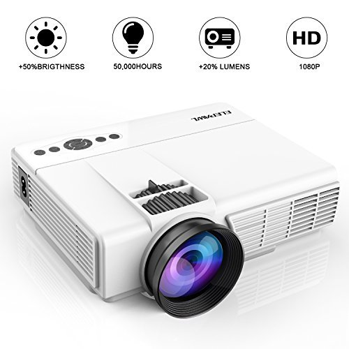 """Mini Projector,2018 Upgraded LED Video Projector +70% Brighter,176"""" Display Portable Home Theater Projector..."""