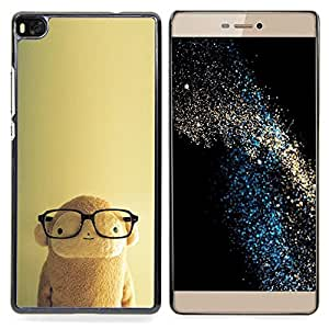 Stuss Case / Funda Carcasa protectora - Nerd inteligente Beige lindo personaje - Huawei Ascend P8 (Not for P8 Lite)