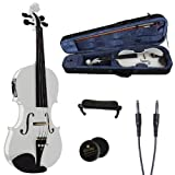 Cecilio CVNAE-White Ebony Fitted Solid Wood Acoustic Electric Violin, White, Size 4/4 (Full Size)