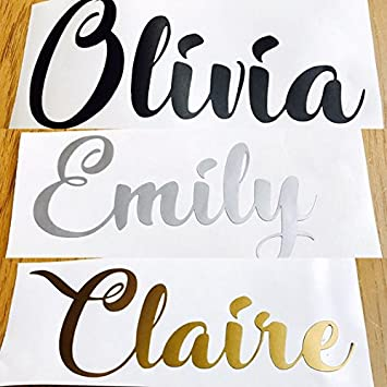 2X Rose Gold CUSTOM TEXT Name Stickers Vinyl Decal  Bottle Wedding Gift Glass