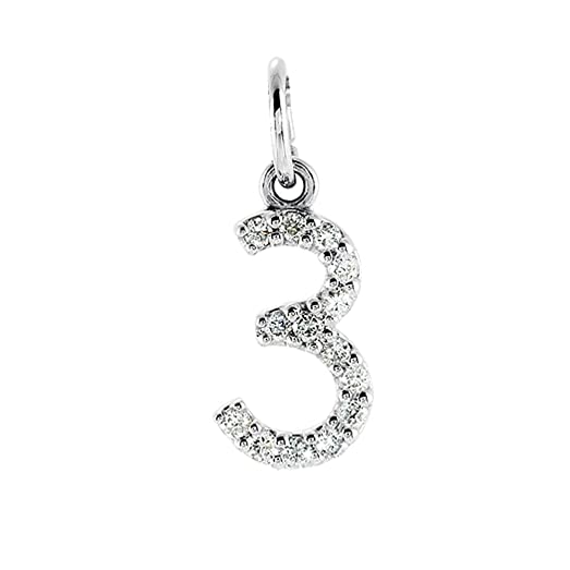 Amazon 06 cttw diamond 14k white gold number 3 charm or 06 cttw diamond 14k white gold number 3 charm or pendant g h color mozeypictures Image collections