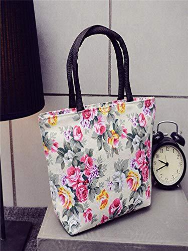 De Impresión Compras Bolsa Carteras Hombro Bandolera Lienzo Mujer Moda Niñas Comprador Clutches Bolso Bolsos Y Absolute Blanco Mano Xx5qB0w