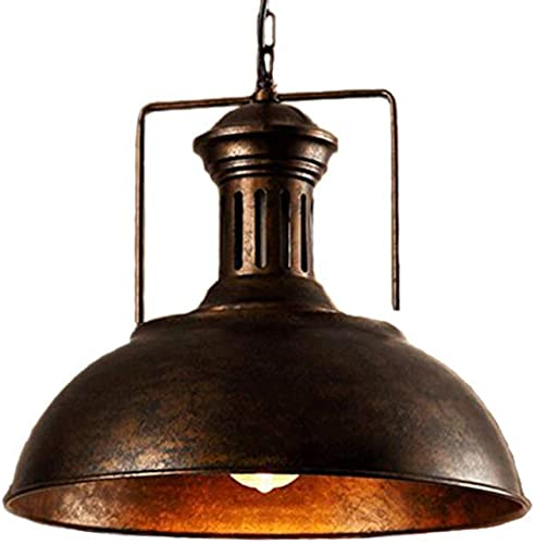 Pendant Light Fixtures Ceiling Hanging Lights with Vintage Industrial Metal Lampshade Rust