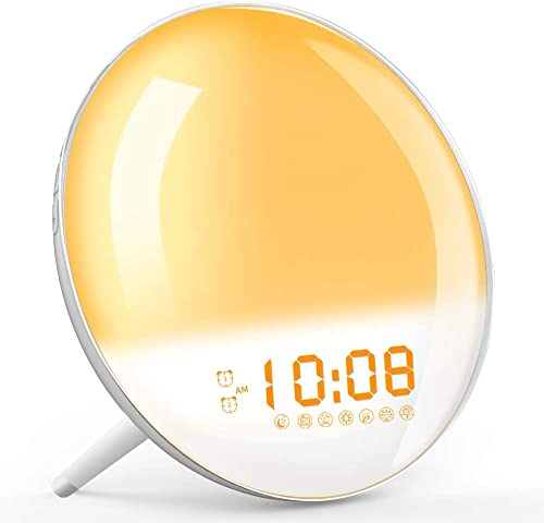 Wake Up Light, Sunrise Simulation Alarm Clock, Sleep Aid Colored Bedside Light with FM Radio Dual Alarm Adjustable Lightness for Kids and Adults Bedroom