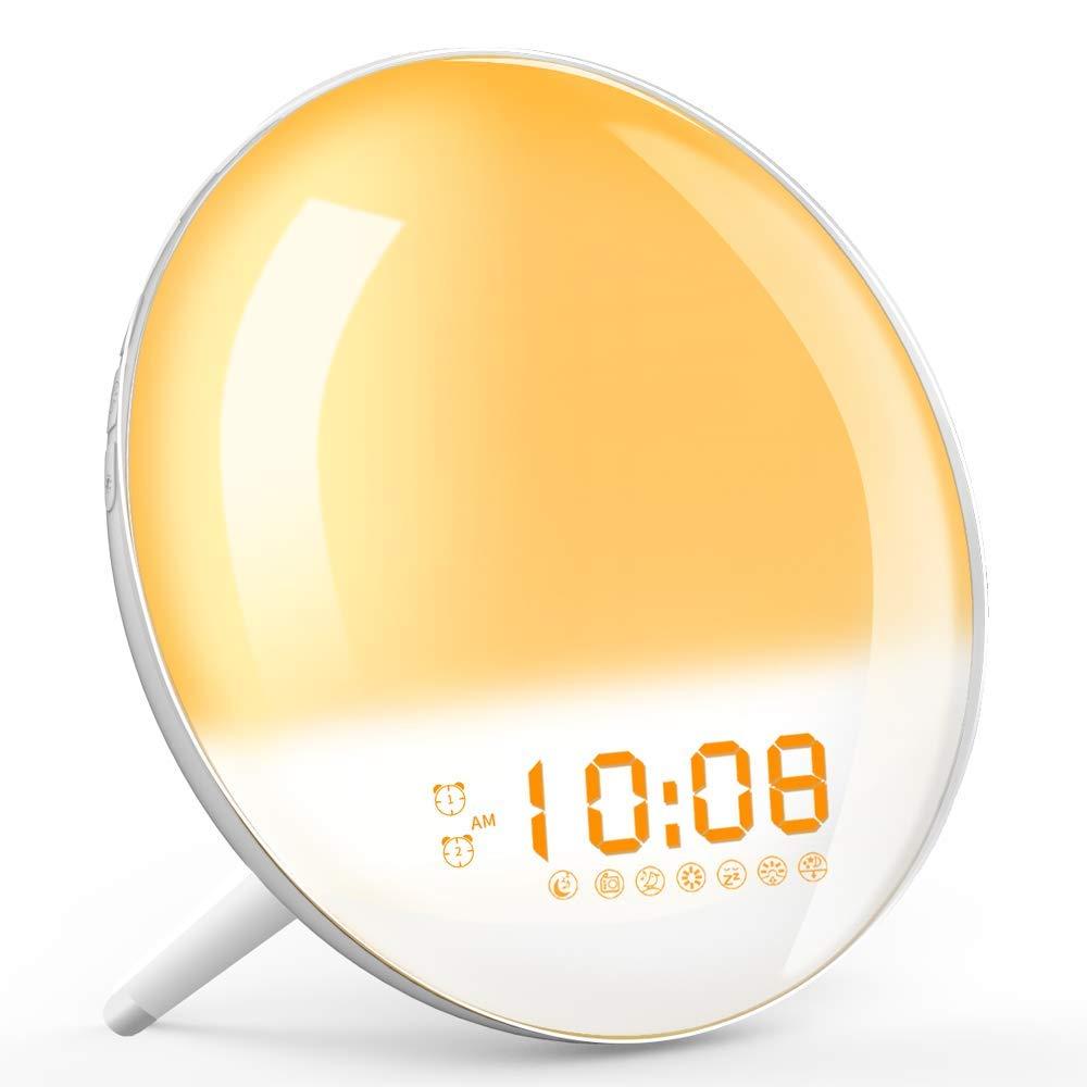Wake Up Light, Sunrise Simulation Alarm Clock, Sleep Aid Colored Bedside Light with FM Radio Dual Alarm Adjustable Lightness for Kids and Adults Bedroom by TITIROBA