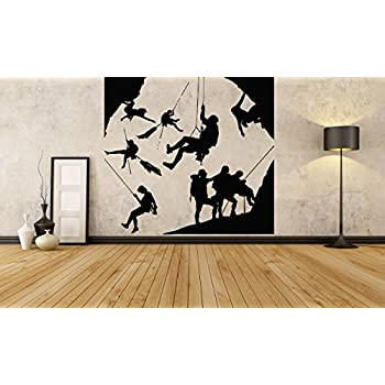 wall vinyl sticker decals mural room design pattern rock climbing extreme adrenalin mountain rope sport hobby