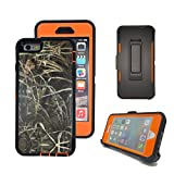 iPhone 6s Plus Case, Harsel® Defender Series Heavy Duty Tree Camo High Impact Tough Hybrid Military w/ Belt Clip Built-in Screen Protector Case Cover for iPhone 6s Plus / iPhone 6 Plus - Straw Orange
