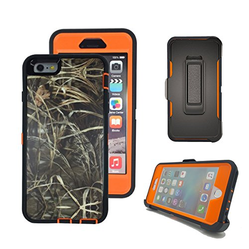 iPhone 6s Plus Case, Harsel Defender Series Heavy Duty Tree Camo High Impact Shockproof Full Body Military Protective with Belt Clip Built-in Screen Protector Case for iPhone 6 Plus - Straw Orange