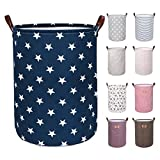 DOKEHOM DKA0822BSXL 22'' Thickened X-Large Laundry Basket -(9 Colors, 19'' and 22'')- with Durable Leather Handle, Waterproof Round Cotton Linen Collapsible Storage Basket (Blue Star, XL)