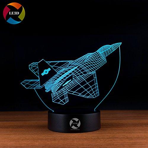Le3d 3D Optical Illusion Desk Lamp 3D Optical Illusion Night Light  7 Color Led 3D Lamp  F 22 3D Led For Kids And Adults  Fighter Jet Lockheed Martin Raptor Light Up