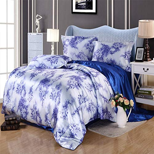 TheFit European Style Silk Floss Satin Jacquard Bedding Sets Flower M14 Duvet Cover Sets , Queen King Size , 4Pcs (Twin)