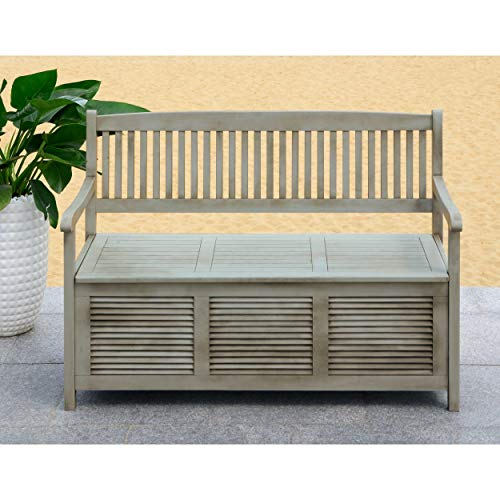 Safavieh Outdoor Collection Brisbane Grey Storage Bench