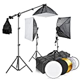"Neewer® 2400W 5500K 20""x28""/50x70cm Four Socket Softbox Fluorescent Lighting Kit and 43""/110cm 5-in-1 Light Reflector with Carrying Case for Studio, Portrait,Art and Product Photography"