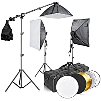 Neewer® 2400W 5500K 20x28/50x70cm Four Socket Softbox Fluorescent Lighting Kit and 43/110cm 5-in-1 Light Reflector with Carrying Case for Studio, Portrait,Art and Product Photography