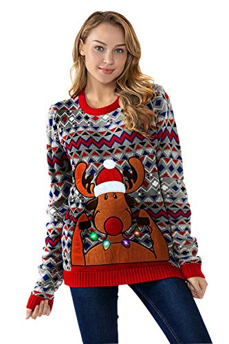 Unisex Women's Christmas Ugly Sweater Funny LED Light-up Flashing Pullover Knit Santa Reindeer Festive Sweatshirt for Party, Retro Rodulph with LED,- XX-Large (Ladies Christmas Retro Jumper)