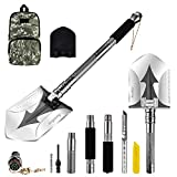 Jingrong Military Portable Folding Shovel, Compact Multifunctional Entrenching Tool with Nylon Carry Case for Hiking, Hunting, Fishing, Gardening, Camping, Backpacking, Emergencies