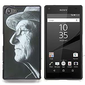 Stuss Case / Funda Carcasa protectora - Sombrero del hombre Gafas Negro Blanco Retrato - Sony Xperia Z5 Compact Z5 Mini (Not for Normal Z5)
