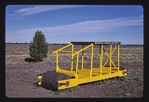 8 x 12 Photo of School bus, Flintstone's Bedrock City, Rts. 64 and 180, Valle, Arizona 1987 Margolies, John (Rts Bus)