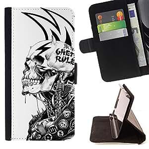 KingStore / Leather Etui en cuir / Samsung Galaxy S6 / Grunge Mech Esqueleto