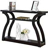 Open Concept Design 3 Shelf Space Cappuccino Rectangle Hall Console Table