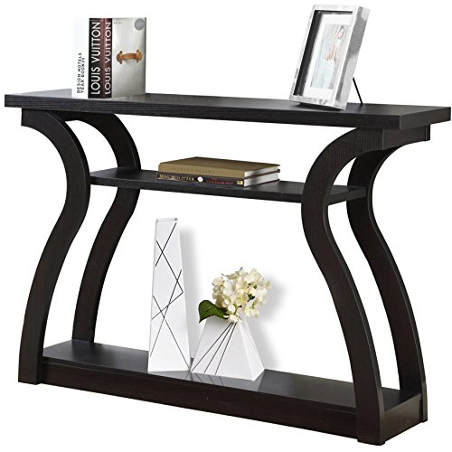 Open Concept Design 3 Shelf Space Cappuccino Rectangle Hall Console Table by Monarch Accent