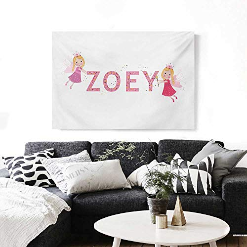 "Zoey Wall Paintings Feminine Themed Baby Girl Name Magic Creatures Calligraphic Alphabet Letter Design Print On Canvas for Wall Decor 36""x32"" Multicolor"